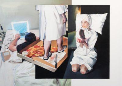 Położna / 2018, olej na płótnie, 140 x 180 cm/