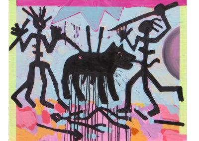 Gdy umierają nasi wielcy, część z nas umiera razem z nimi [Homage A.R. Penck] /2017, akryl na płótnie, 73 x 92 cm/